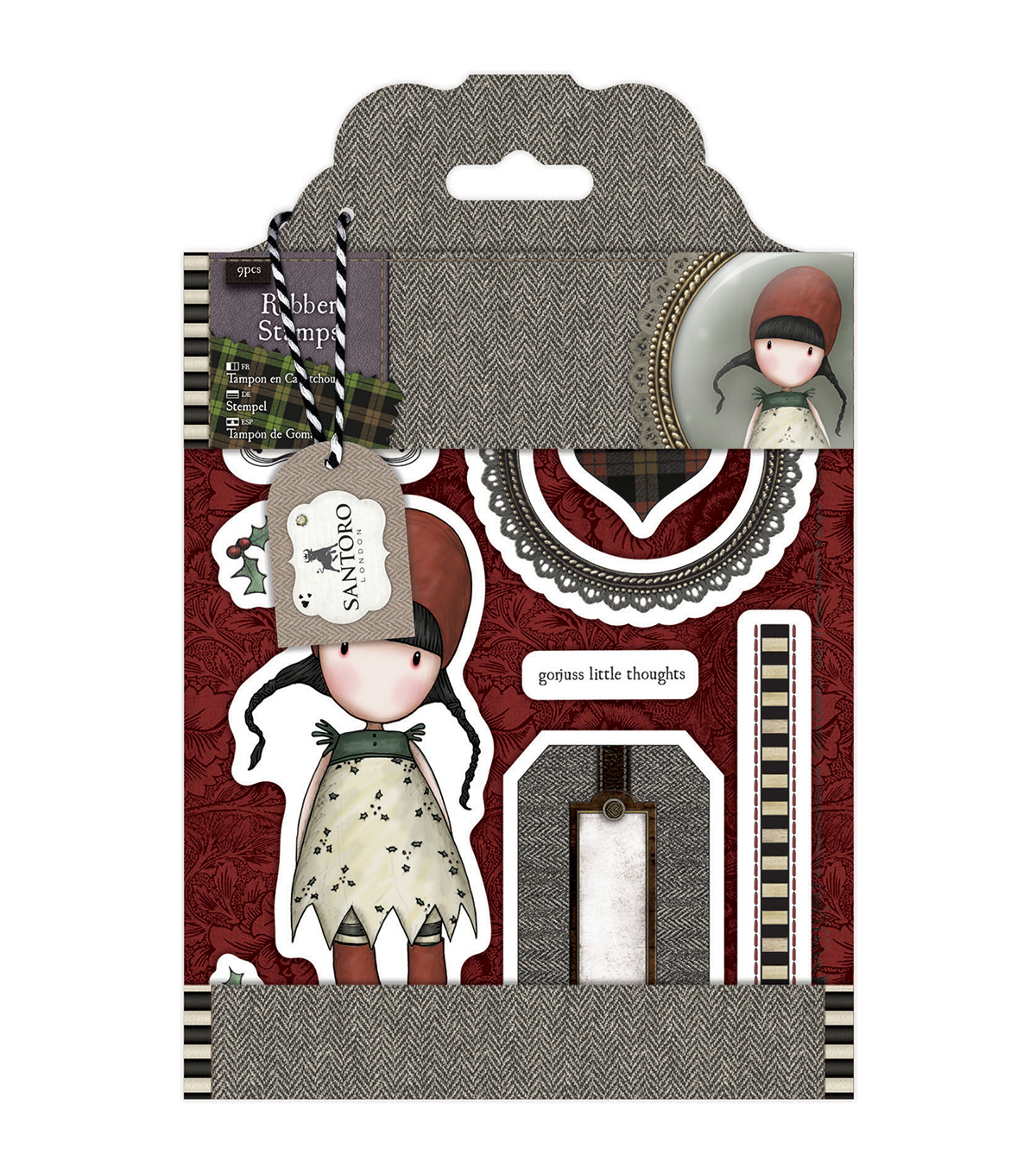 Santoro Gorjuss Tweed Rubber Stamps-Holly