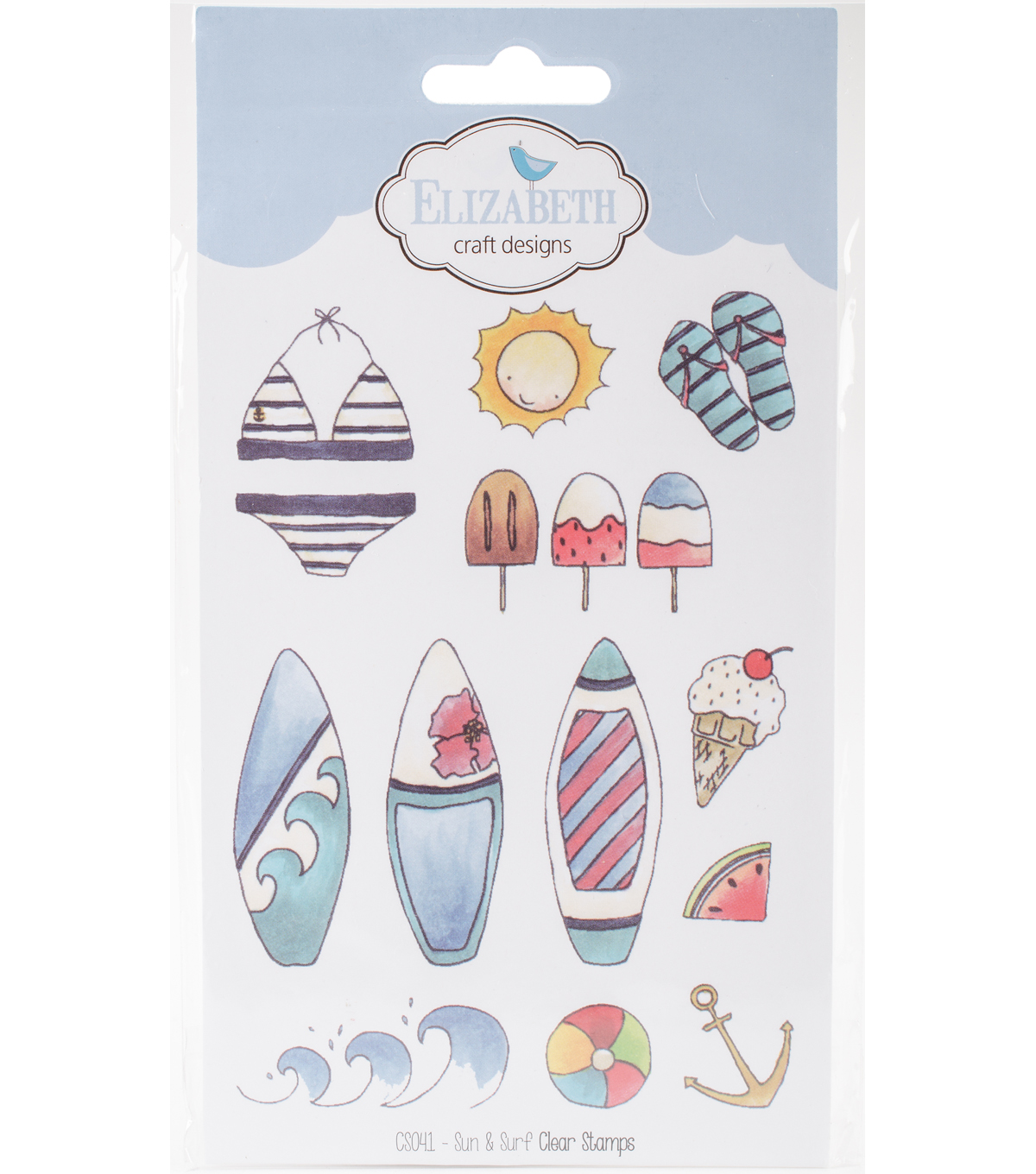 Elizabeth Crafts 12 pk Clear Cling Stamps-Sun & Surf
