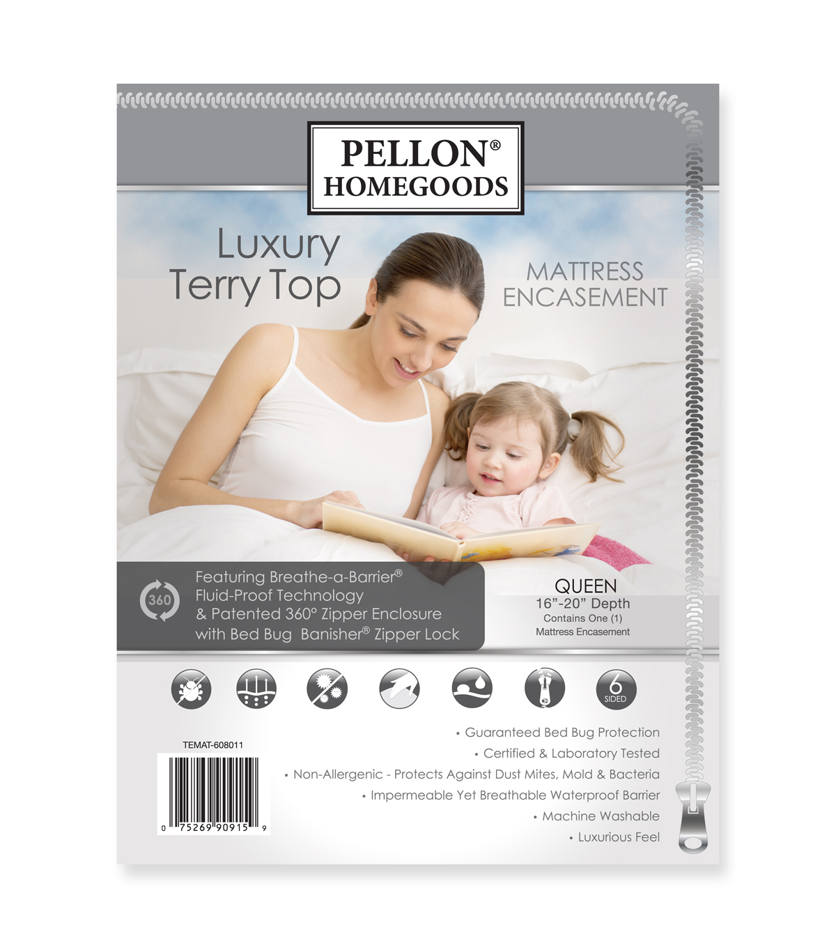 Pellon® Luxury Terry Top Mattress Encasement Queen 60\u0022 X 80\u0022