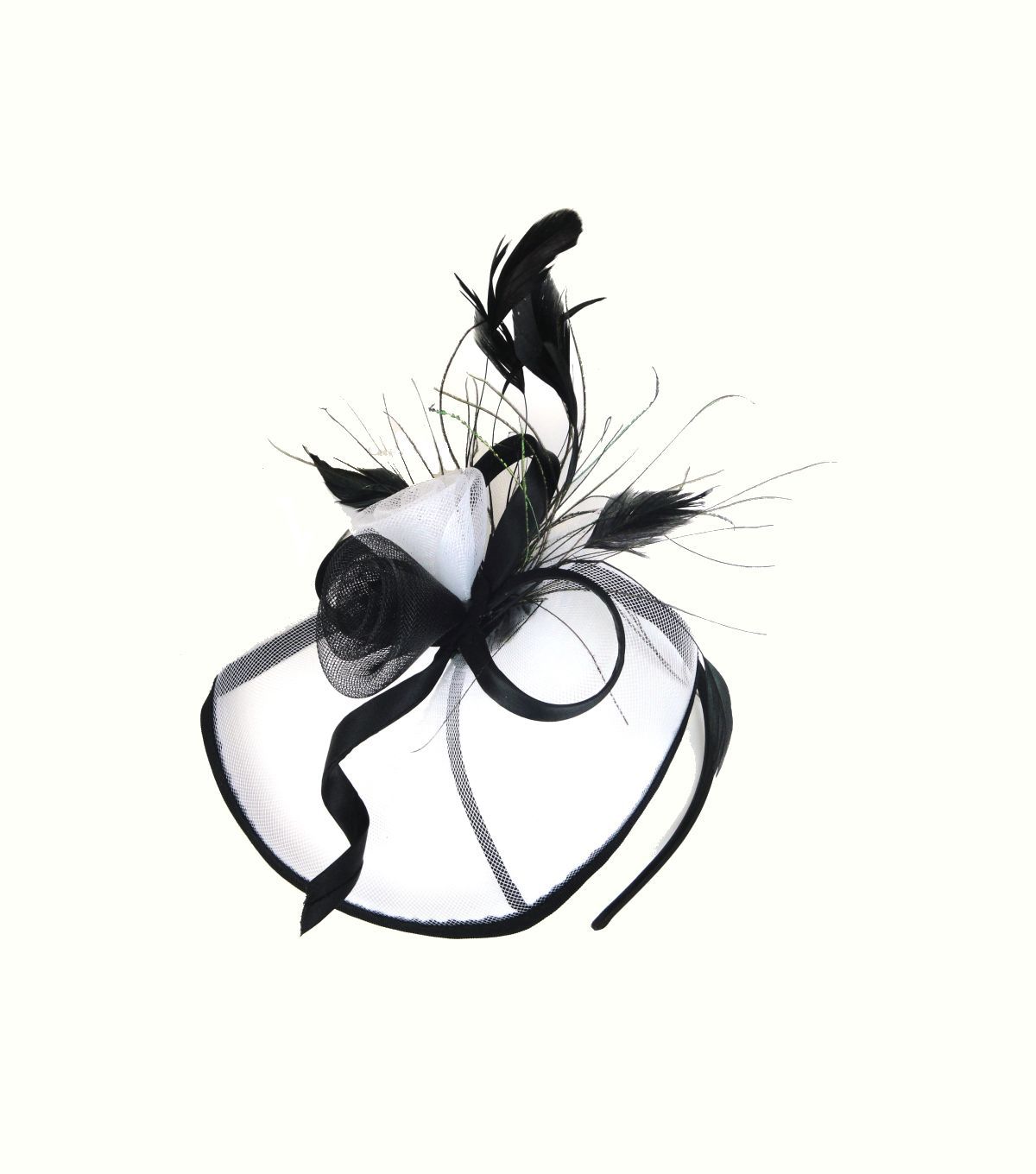 Maker's Halloween Deluxe Headband with Roses & Feathers-White & Black