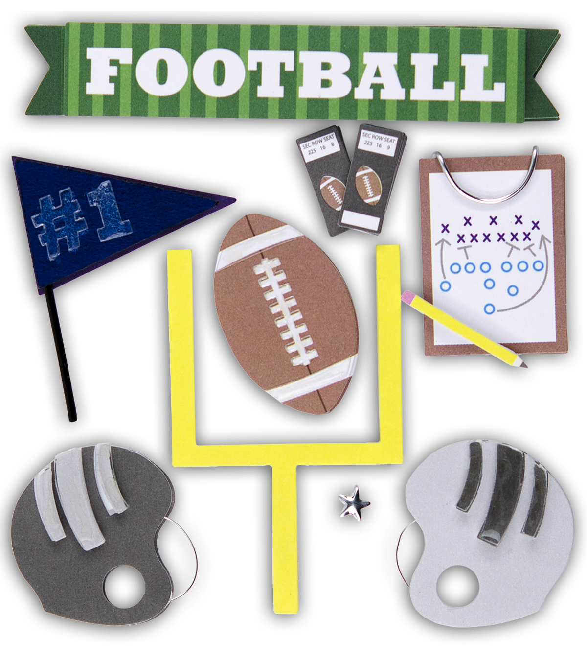 K&Company Dimensional Stickers-Football Fun