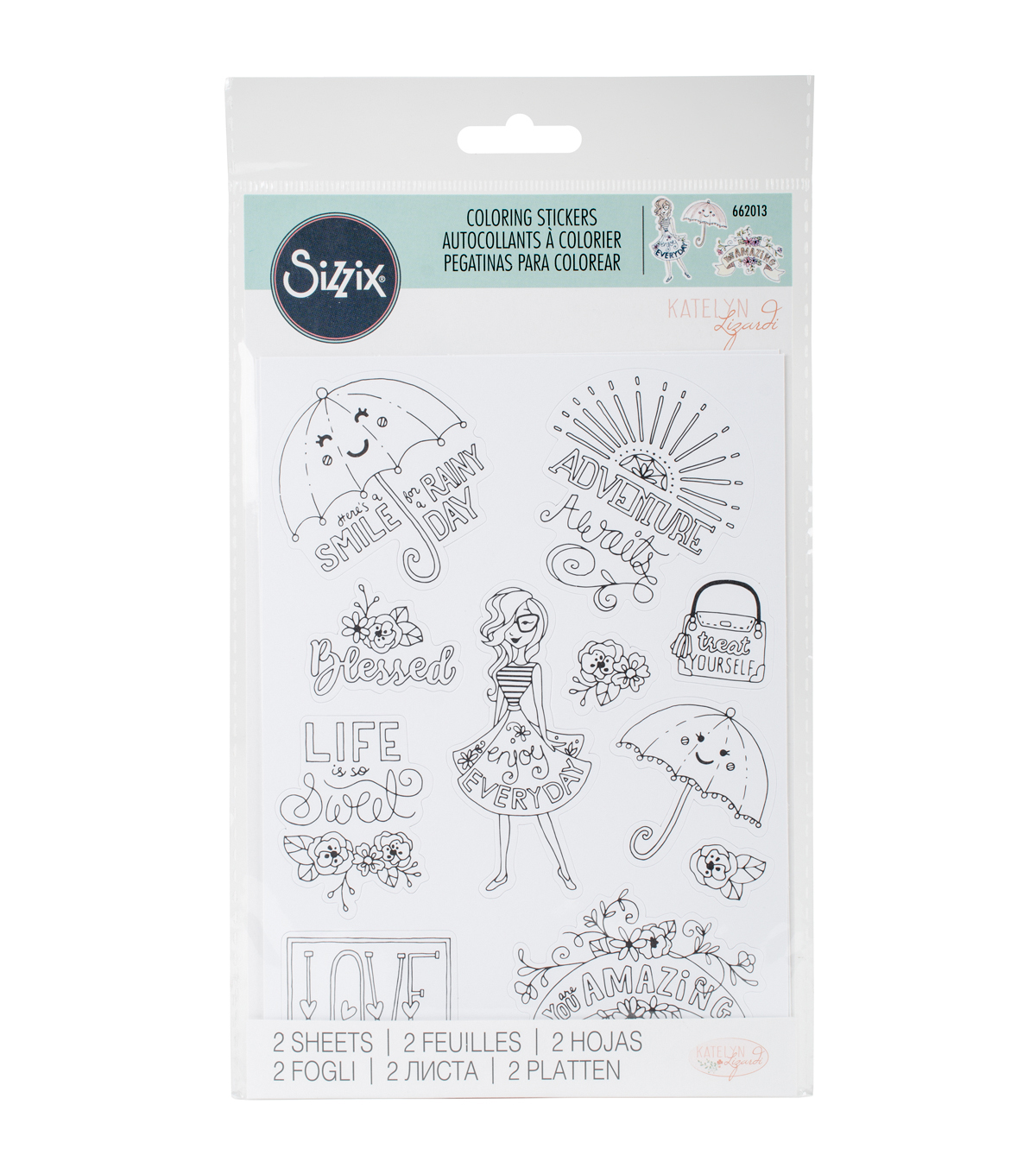 Sizzix® Katelyn Lizardi 2 Pack Coloring Stickers-Enjoy Every Day