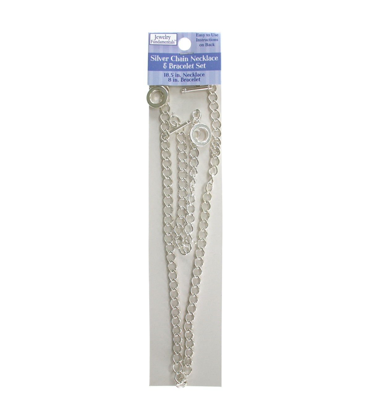 Jewelry Fundamentals Silver Chain Necklace and Bracelet Set