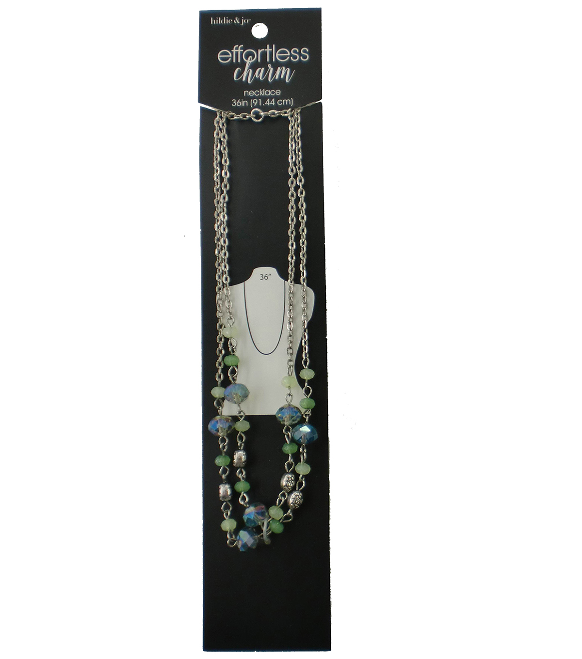 hildie & jo™ Effortless Charm 36'' Silver Necklace-Blue/Green Bead