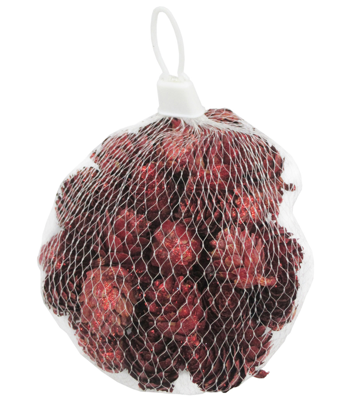 Holiday Cheer Glitter Cone Mesh Bag-Red