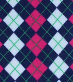 "Blizzard Fleece Fabric 59""-Navy and Fuchsia Argyle"