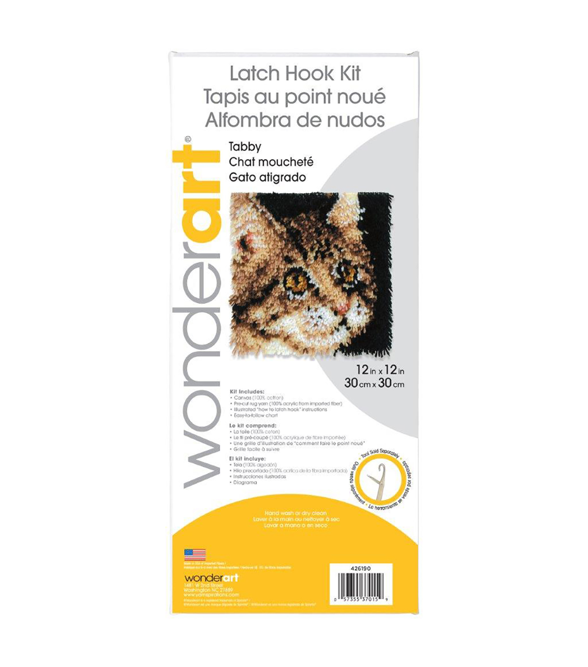Wonderart Latch Hook Kit 12\u0022X12\u0022-Tabby