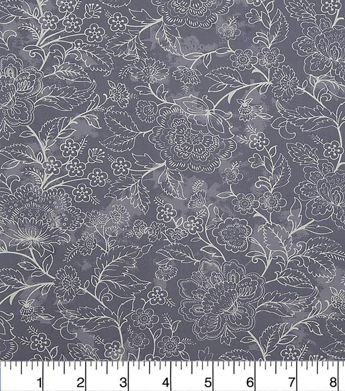 "Wide Cotton Solid Fabric 108""-Large Floral Dusty Blue"