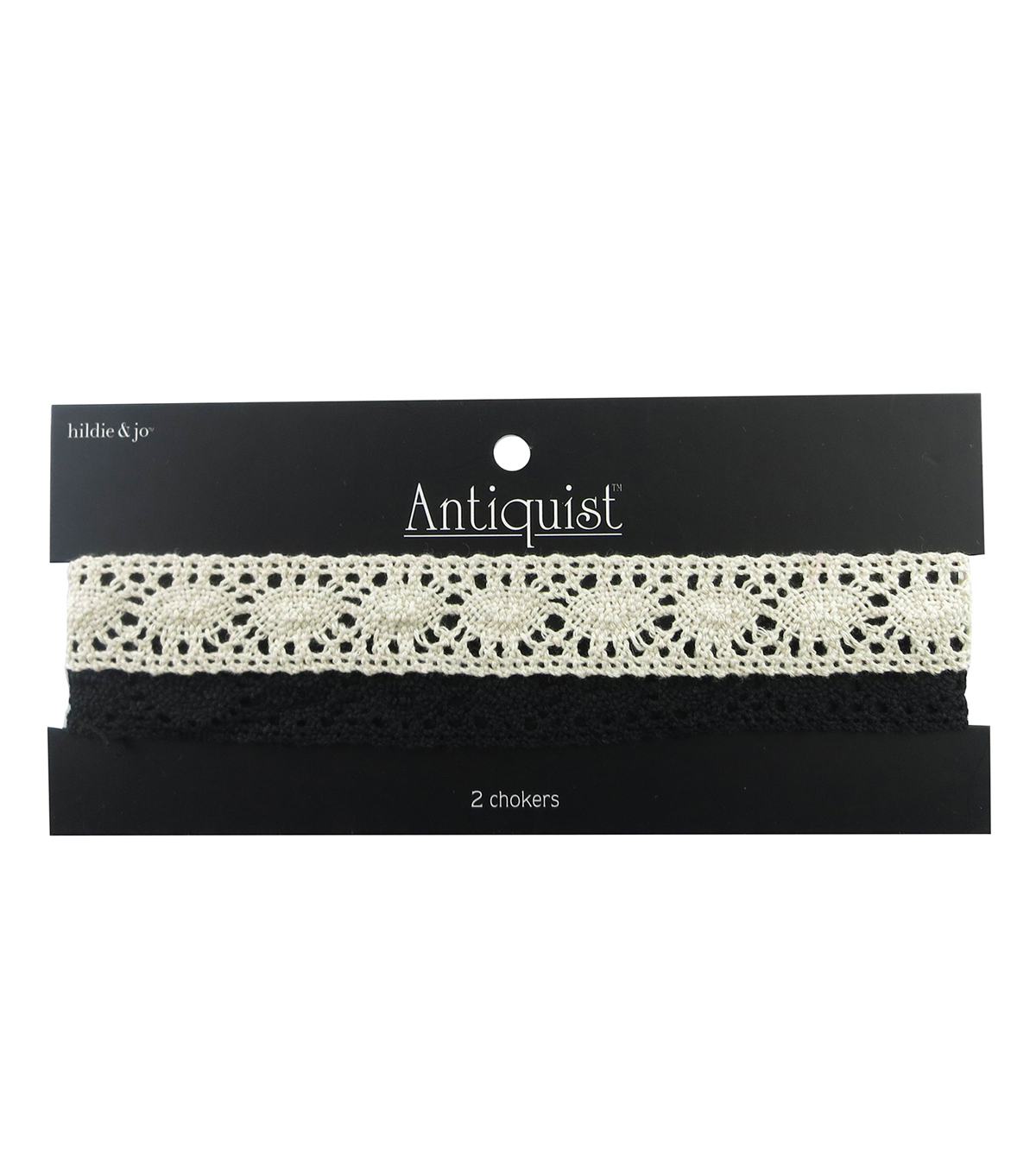 hildie & jo™  Antiquist 2 Pack 15\u0027\u0027 Crochet Chokers-Black & Cream