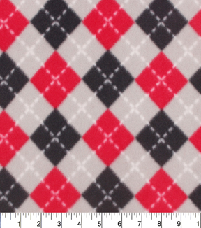 "Blizzard Fleece Fabric 59""-Red Black Argyle"
