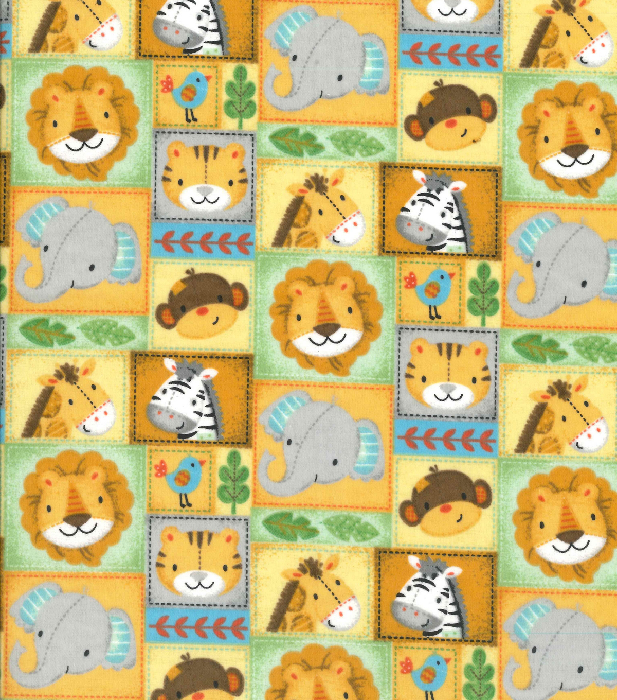 Nursery Flannel Fabric 42\u0022-Zoo Animal Patchwork