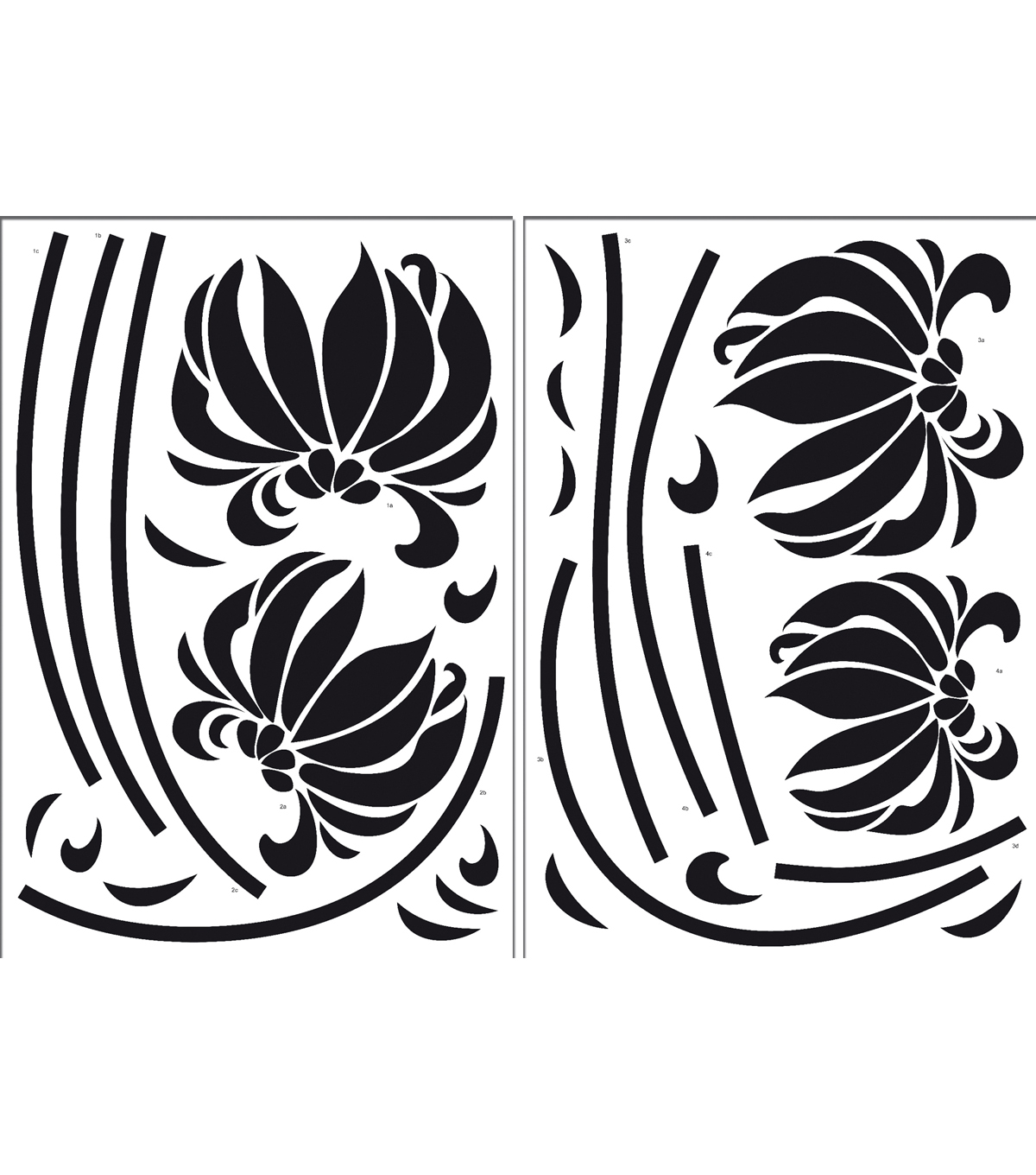 Home Decor Black Flowers Wall Decal, 28 Piece Set