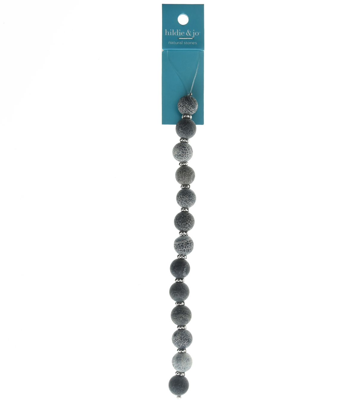 hildie & jo™ 7'' Round Beads Strand-White Pattern on Gray Stones