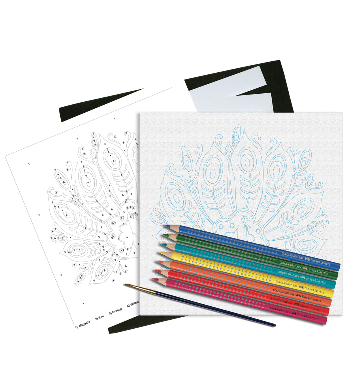 Faber-Castell Watercolor Paint By Number Kit w/EcoPencils-Peacock
