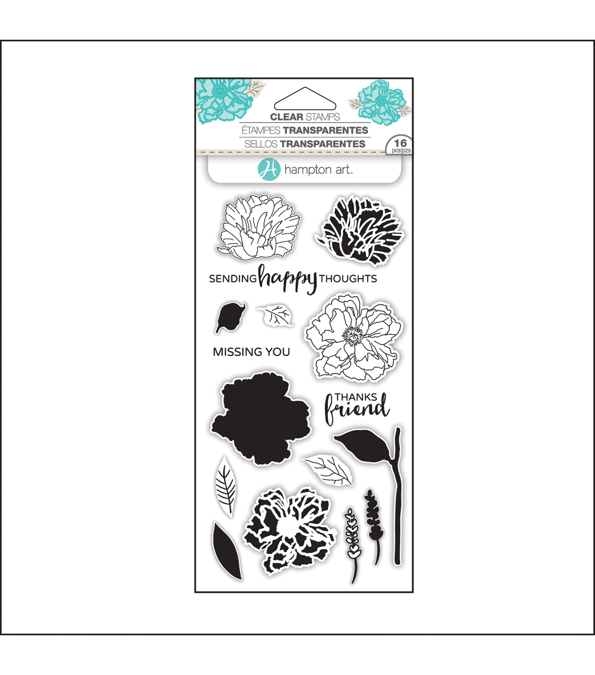 Hampton Art Layering Clear Stamp-Flower Happy