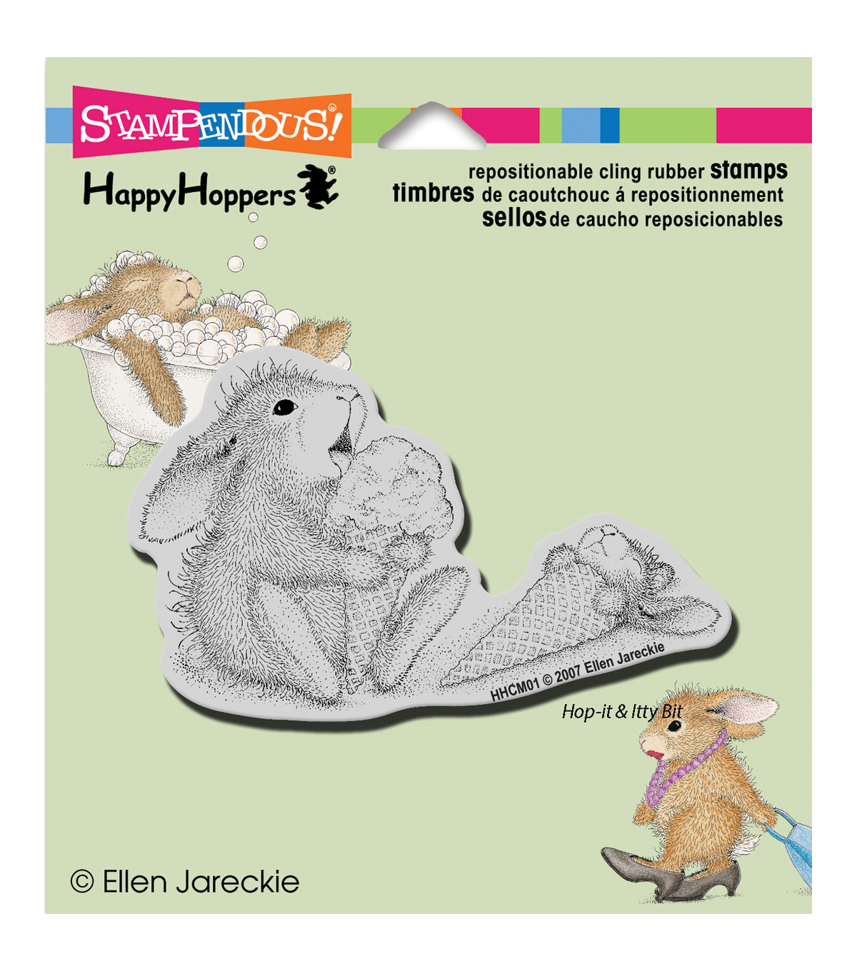 Stampendous HappyHopper Cling Rubber Stamp Ice Cream Lick