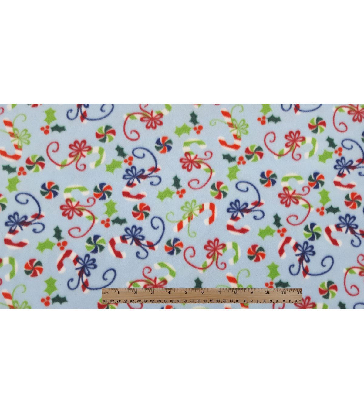 Maker\u0027s Holiday Fleece Fabric 59\u0022-Candy Canes in Bows