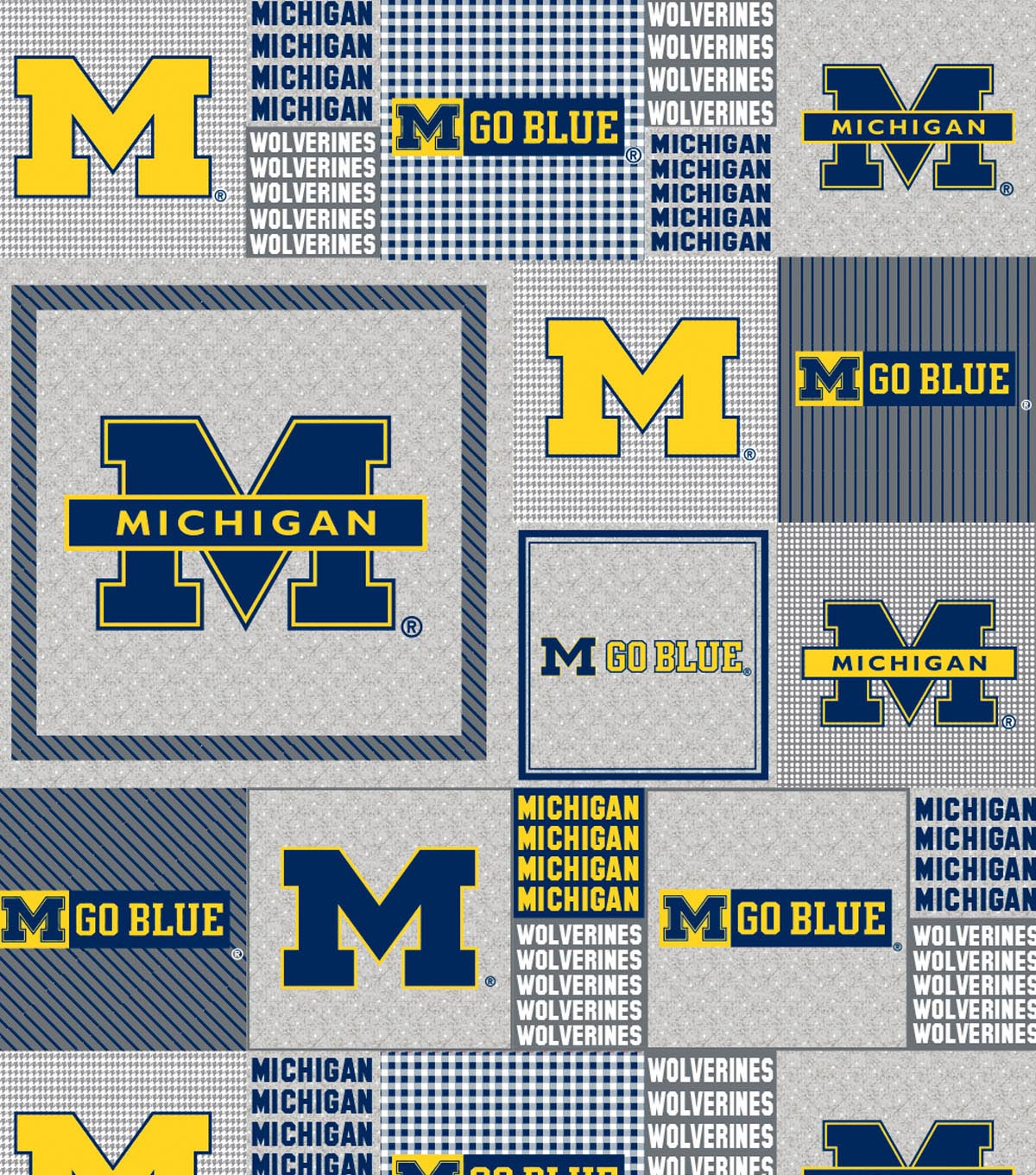 University of Michigan Wolverines Fleece Fabric 60\u0022-Gray Box