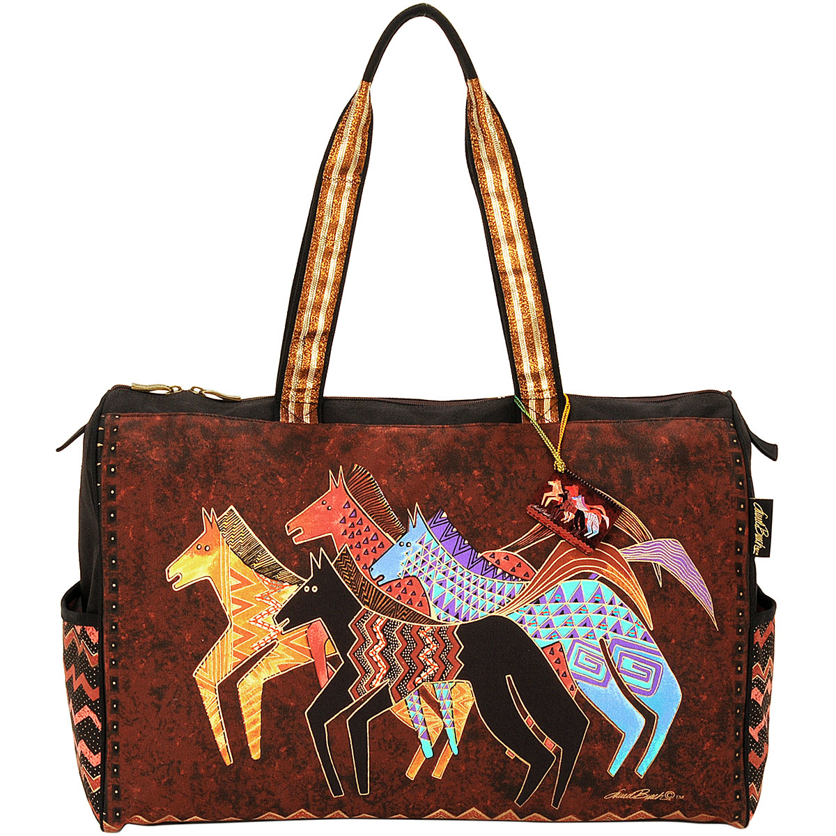 Laurel Burch Travel Bag Zipper Top 20.5\u0022x8.25\u0022x16\u0022-Native Horses