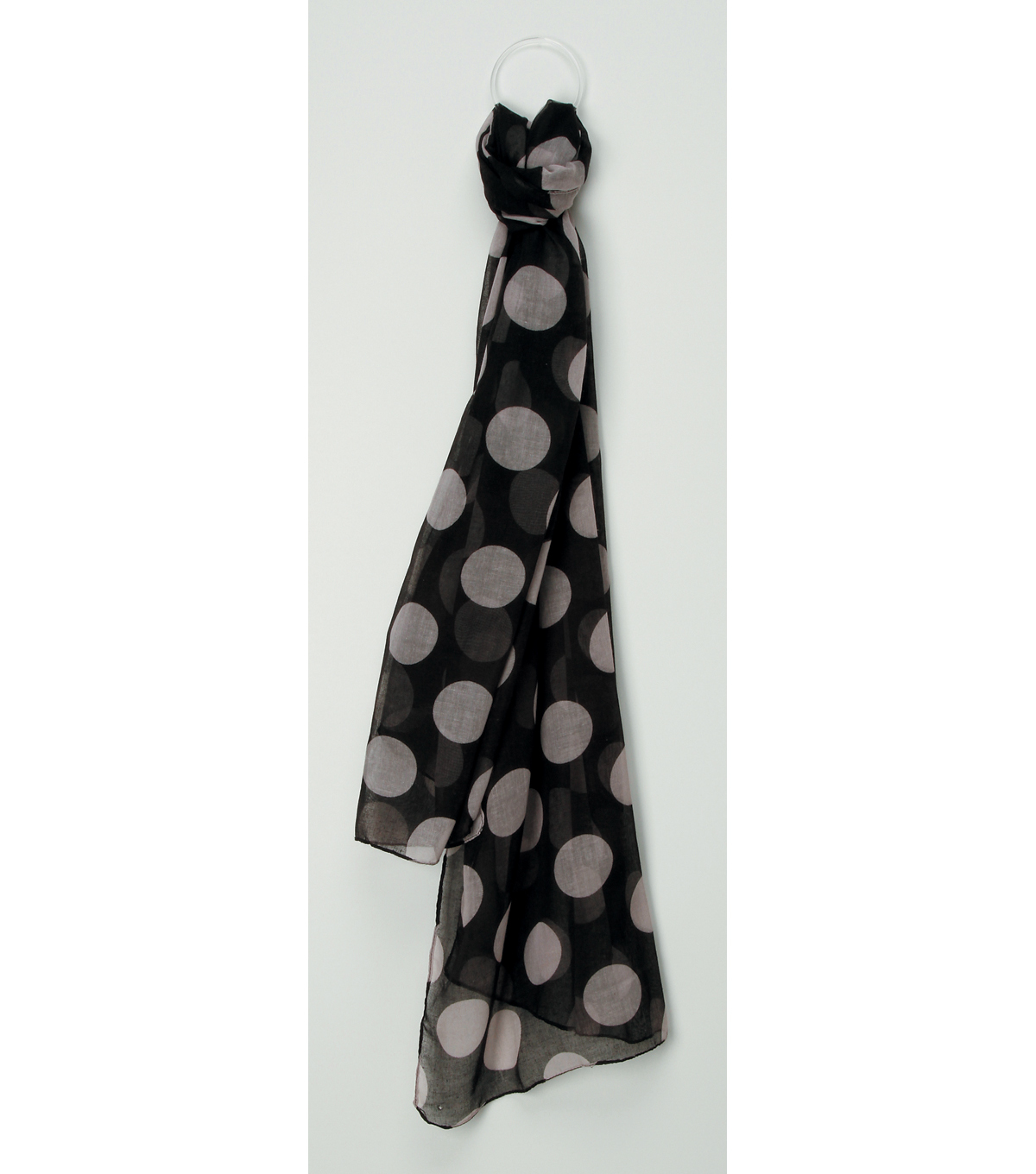 Oxford Street Jewelry Co. Black Scarf with White Polka Dots