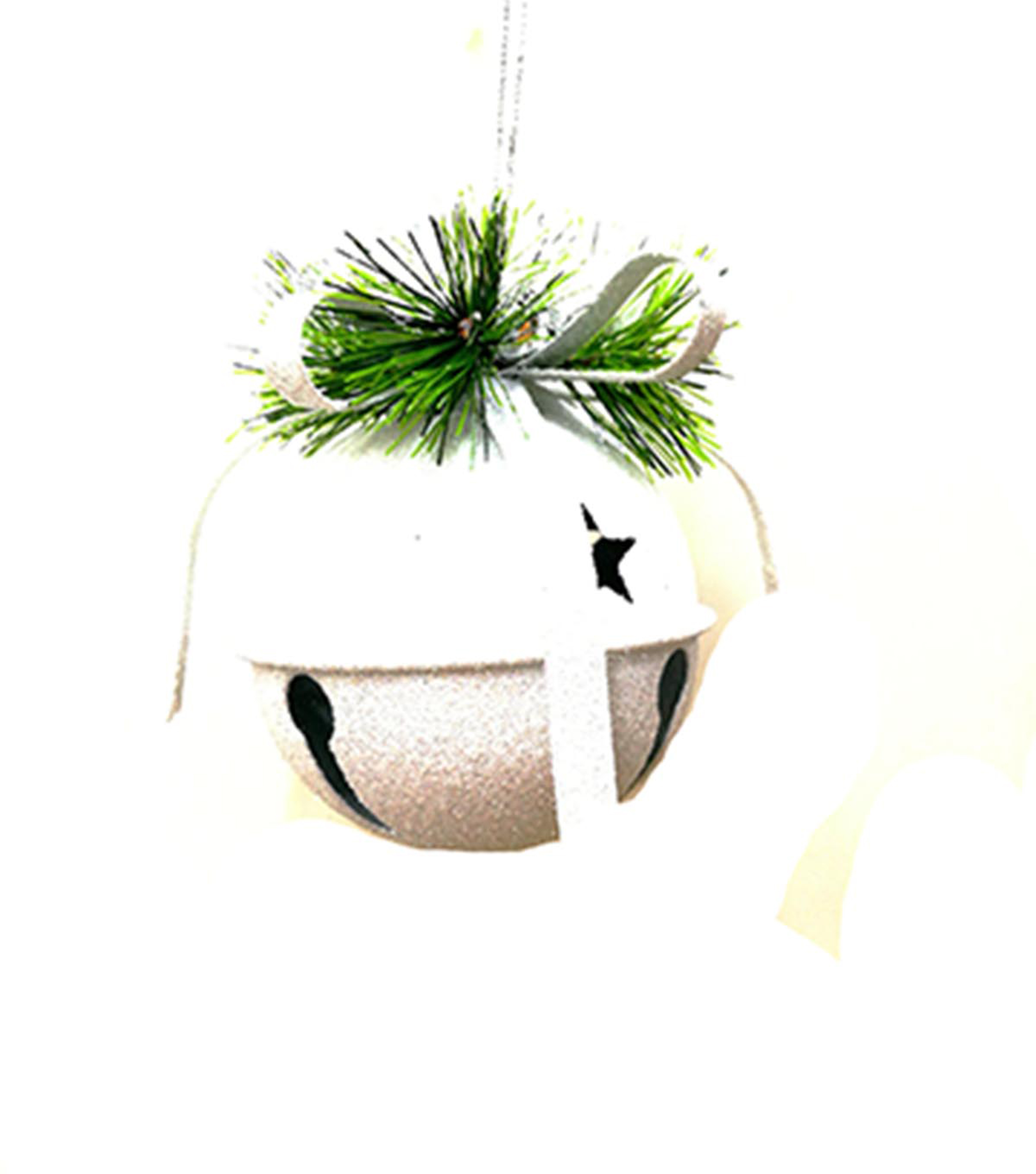 Maker\u0027s Holiday Christmas Arctic Frost Bell Ornament-White