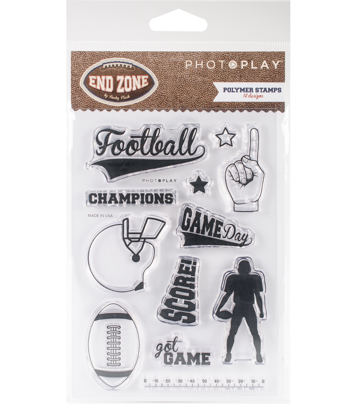 Photo Play Paper End Zone 12 pk Polymer Stamps
