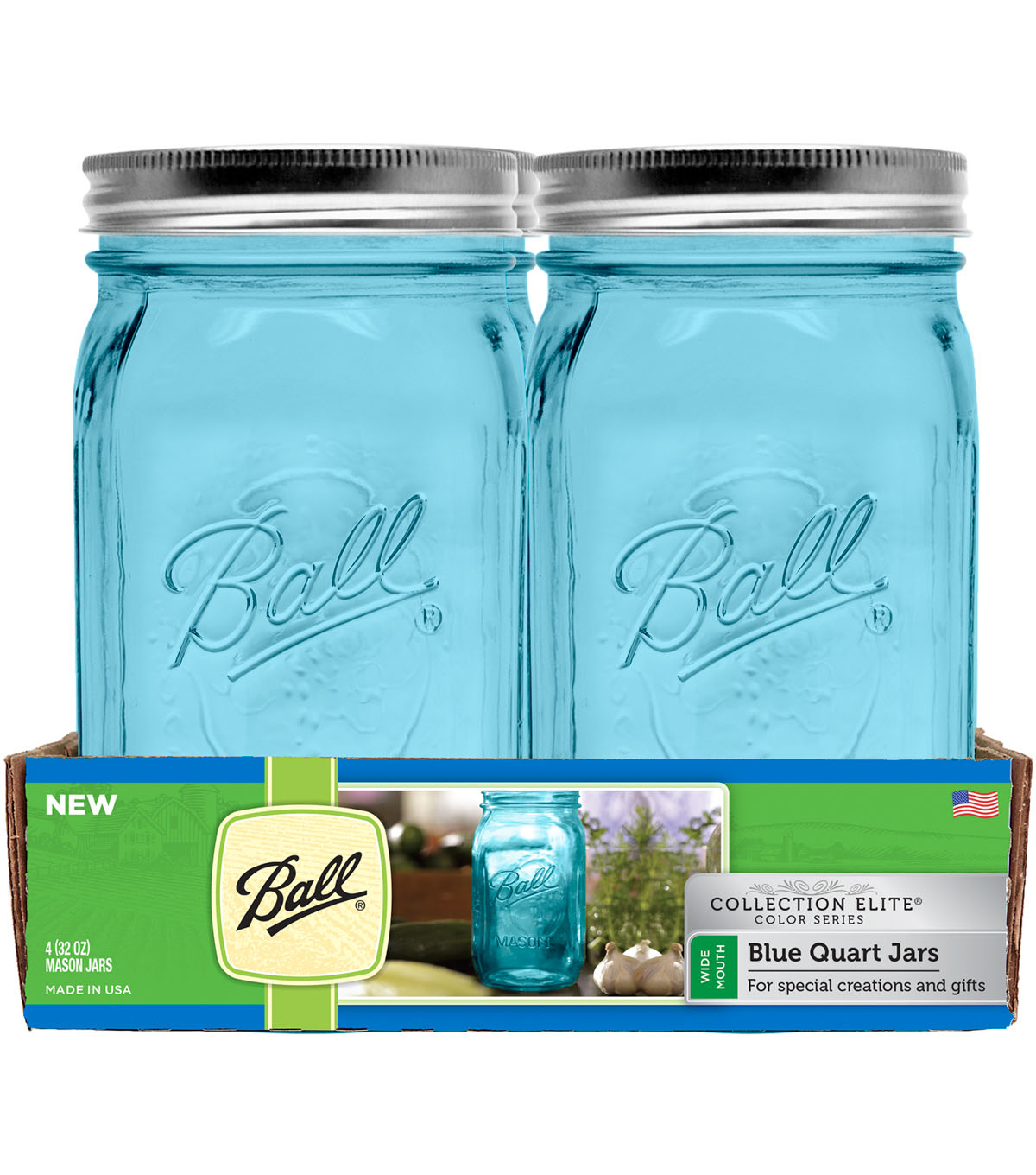 Ball® Collection Elite Color Series 4 pk 32 oz. Quart Jars-Blue