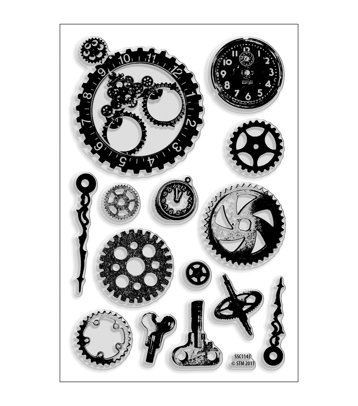 Stampendous Perfectly Clear Stamps 4\u0022X6\u0022 Sheet-Steampunk Gears