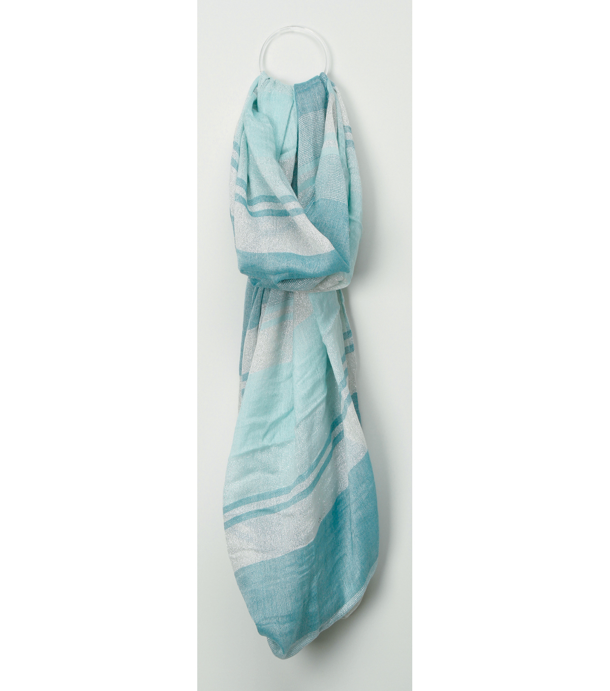 Oxford Street Jewelry Co. Light Blue & White Striped Infinity Scarf