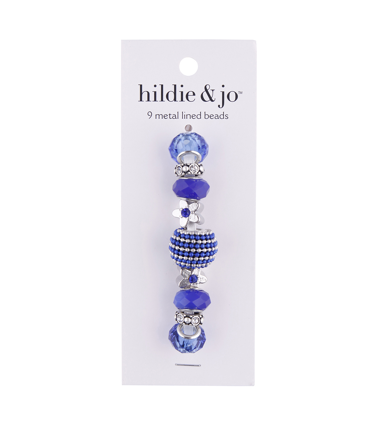 hildie & jo™ Mix & Mingle 9 pk Metal Lined Glass Beads-Navy