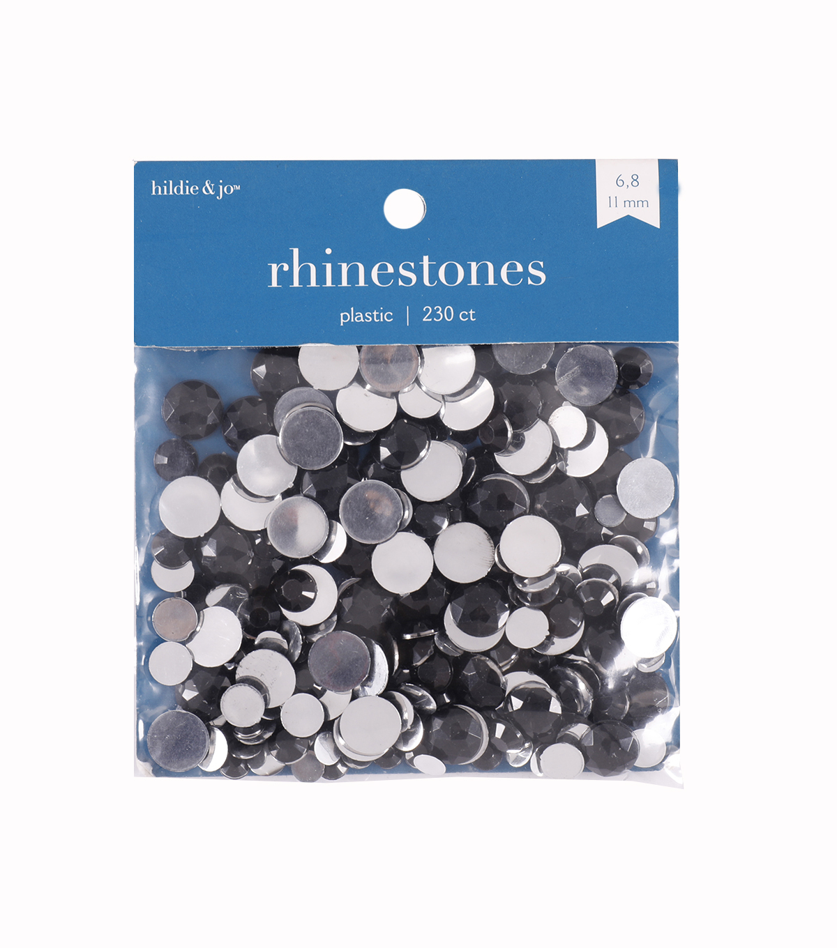 Black Rhinestones, Round, Assorted Sizes. 22 grams