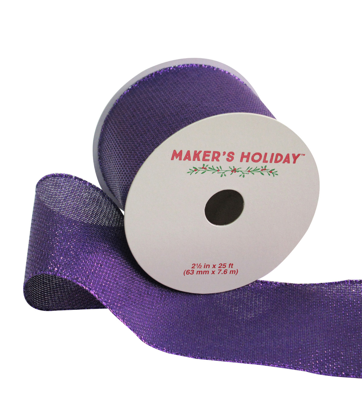 Maker's Holiday Ribbon 2.5''x25'-Purple Sparkle
