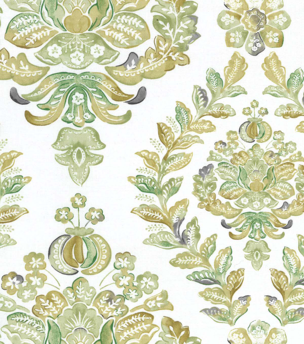 Two Daughters™ Cotton Fabric 43\u0022-Green Watercolor Damask