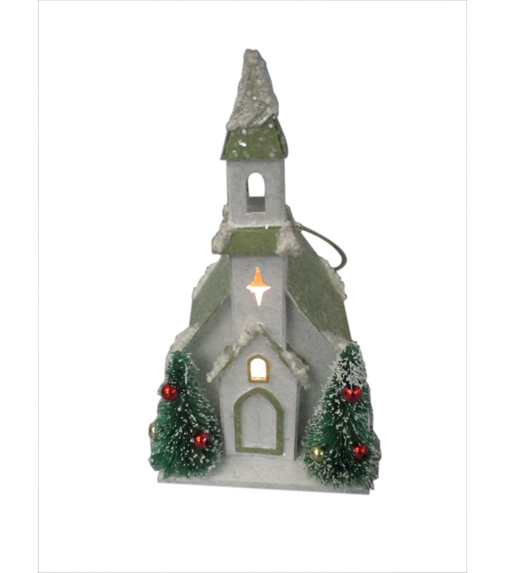 Holiday Cheer Led Vintage Paper White Church Ornament