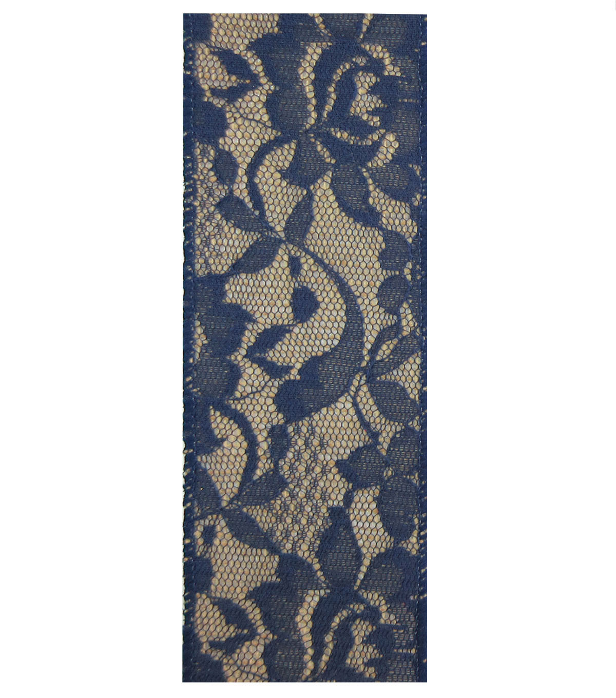 Decorative Ribbon Lace with Burlap 2.5\u0027\u0027x9\u0027-Navy