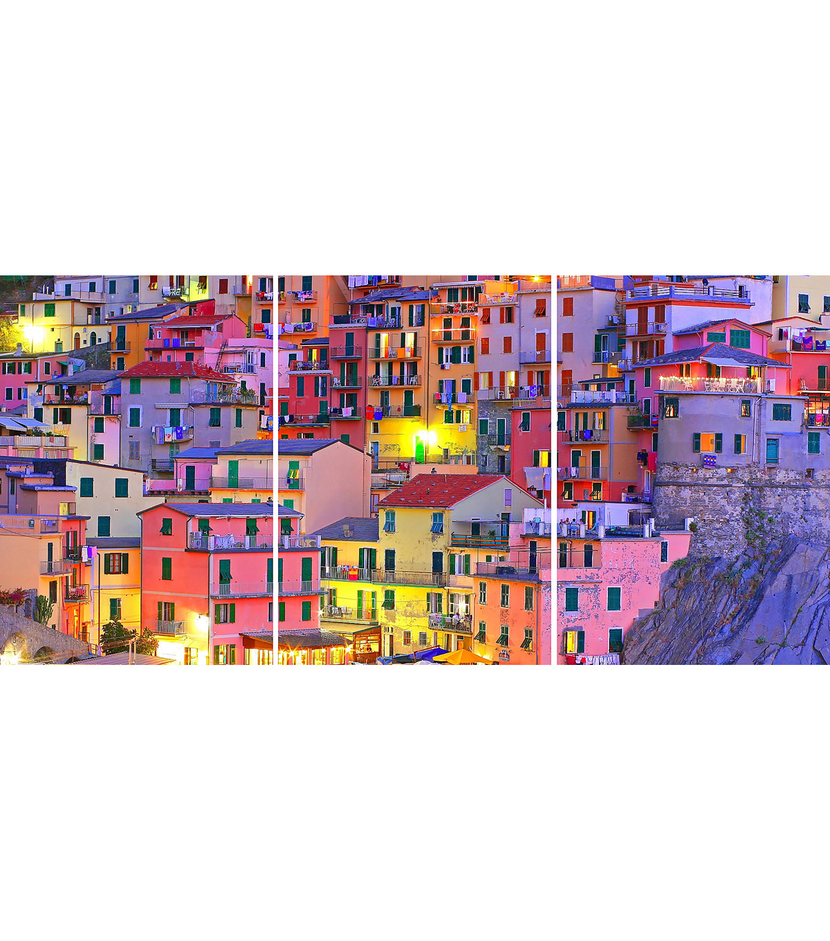 Home Decor Colorful Town Panoramic Wall Decal, 3 Piece Set