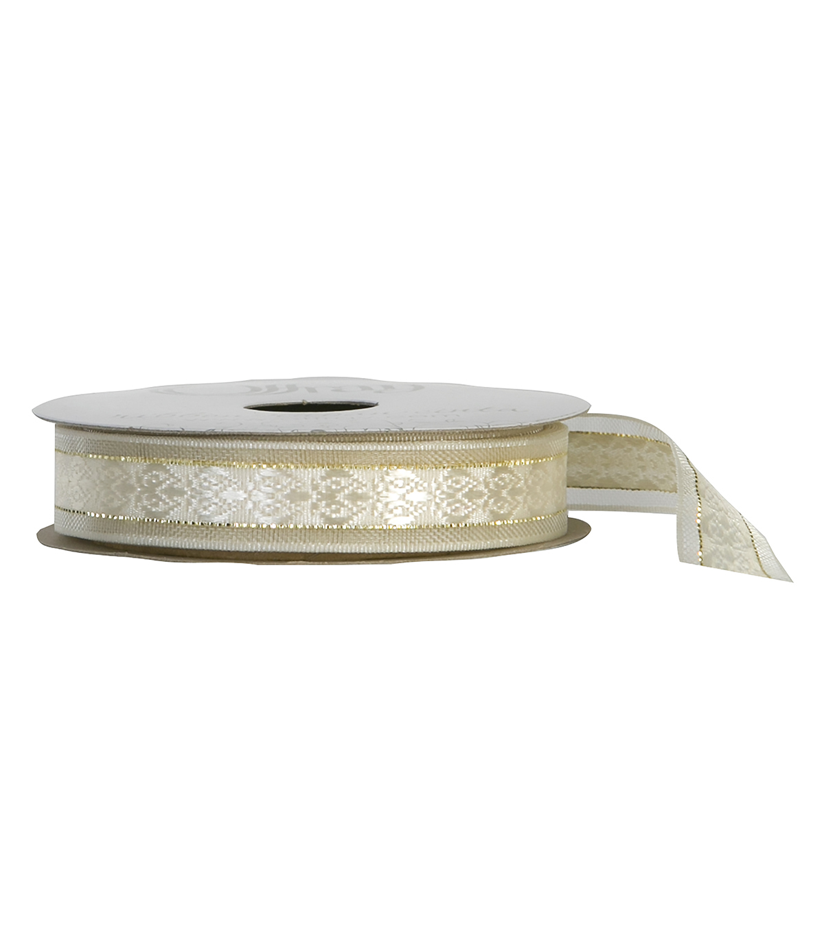 "Offray 5/8""x9' Cosette Woven Sheer Ribbon-Ivory"