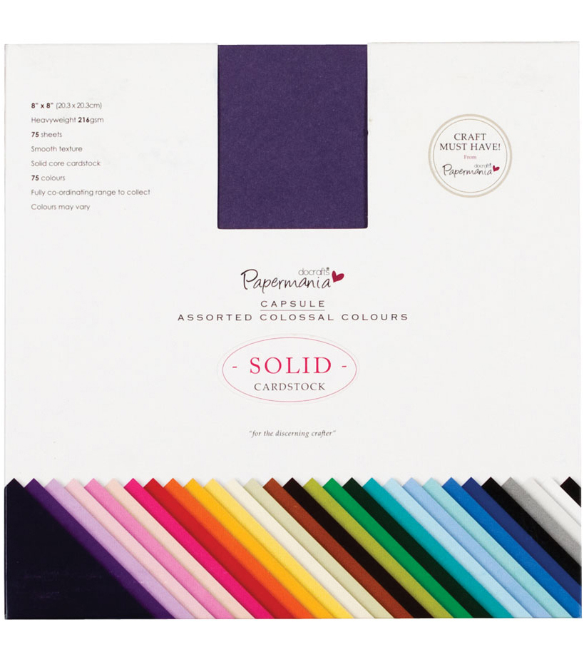 "Papermania Premium Smooth Solid Cardstock Pack 8""X8"" 75/Pkg-Colossal"
