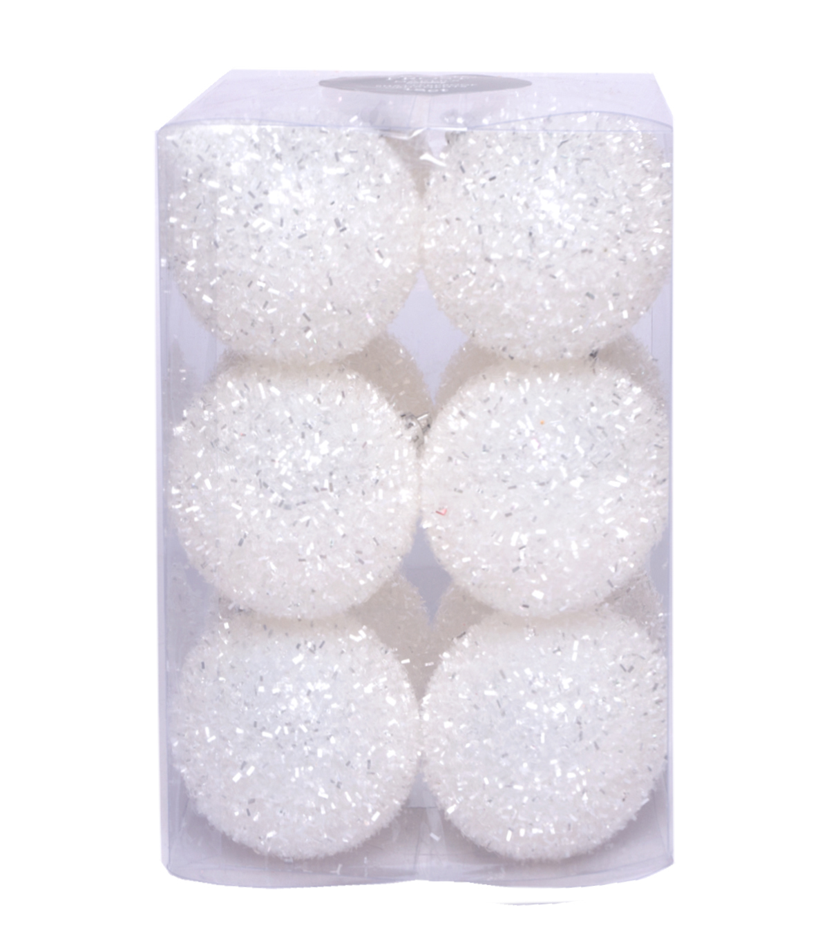 Maker\u0027s Holiday Christmas 12 pk Tinsel Ball Ornaments-White
