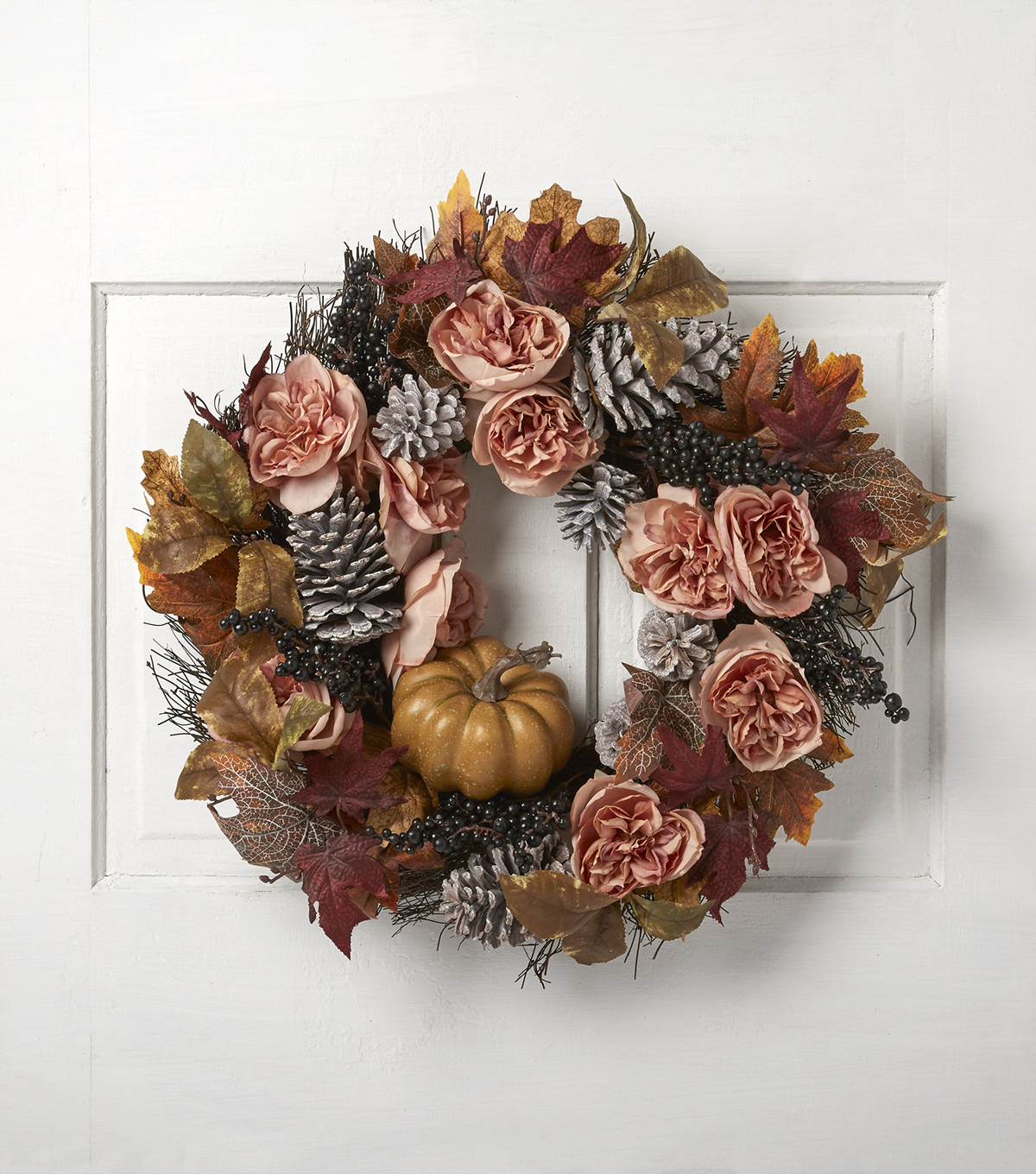 Fall into Color 22\u0027\u0027 Rose, Berry & Pinecone Wreath