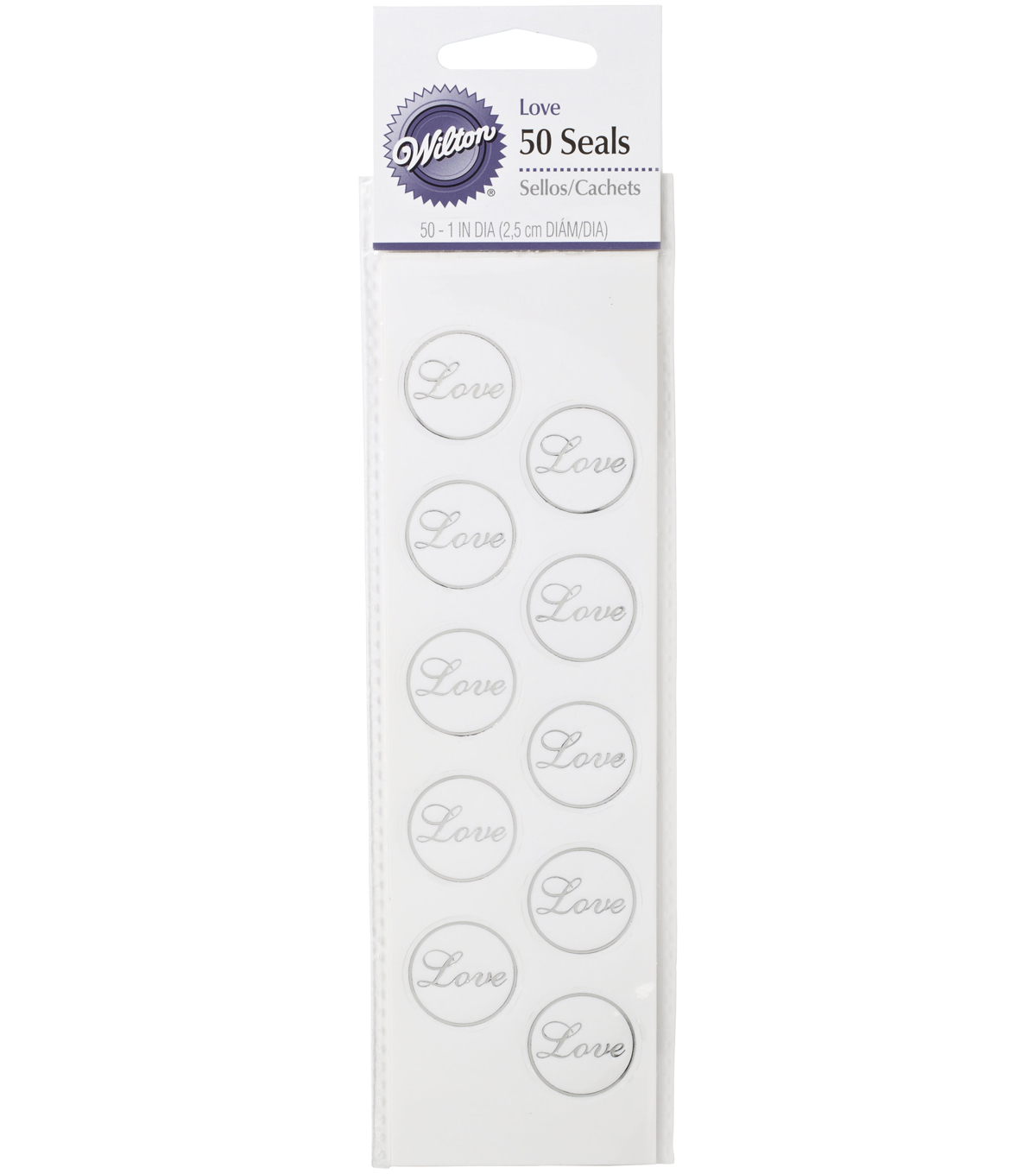 Wilton® 50ct Love Envelope Seals-Clear/Silver