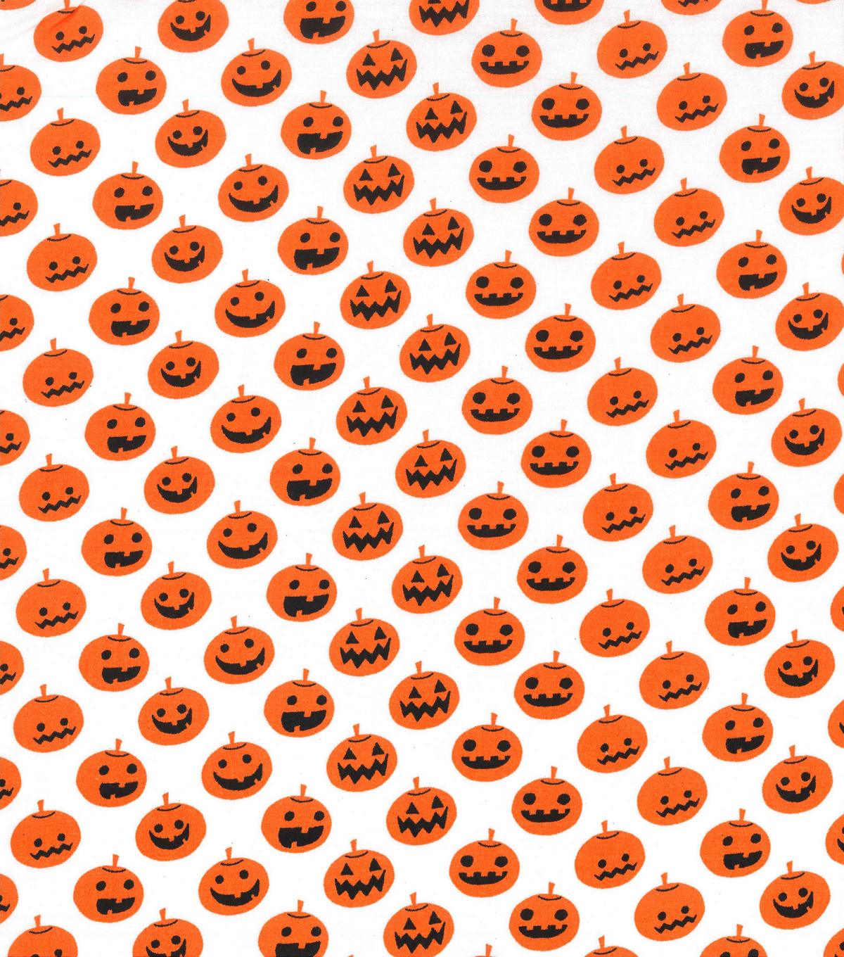 Holiday Showcase™ Halloween Cotton Fabric 43''-Large Pumpkins on White
