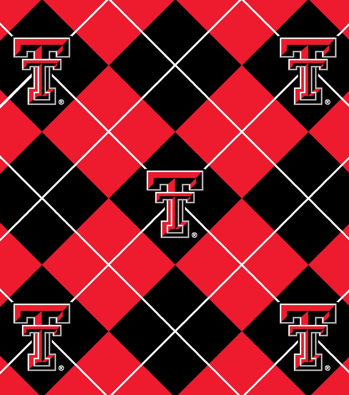 Texas Tech University Red Raiders Fleece Fabric 58\u0022-Argyle