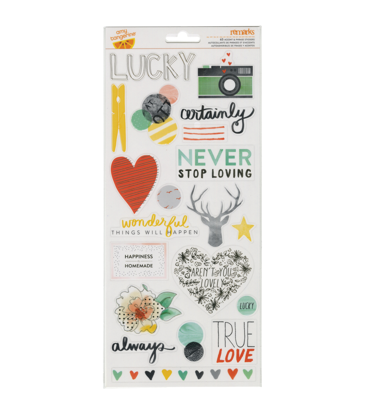 American Crafts Amy Tangerine Stitched Accent & Phrase Stickers