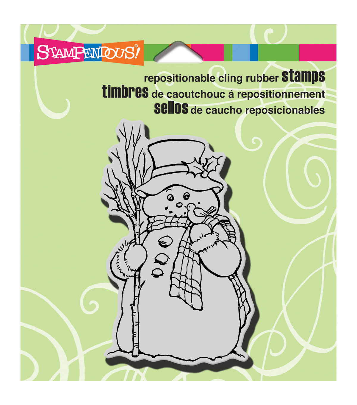 "Stampendous Christmas Cling Rubber Stamp 3.5""X4"" Sheet-Country Snowman"