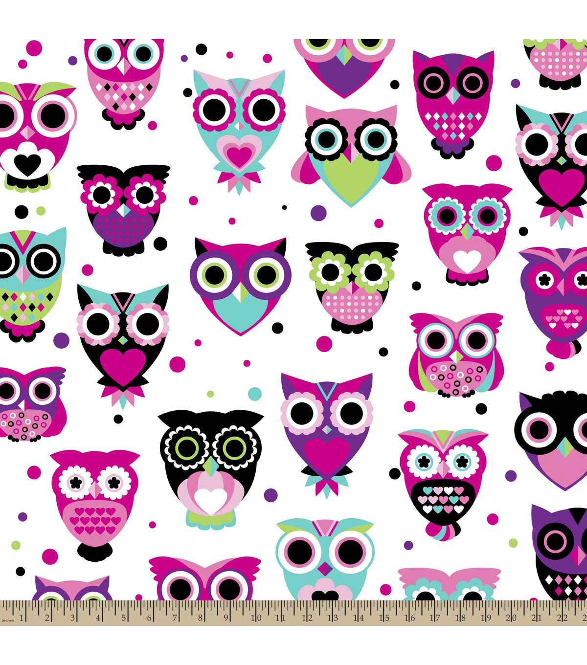 Anti-Pill Fleece Fabric 59\u0022-Owls Bright