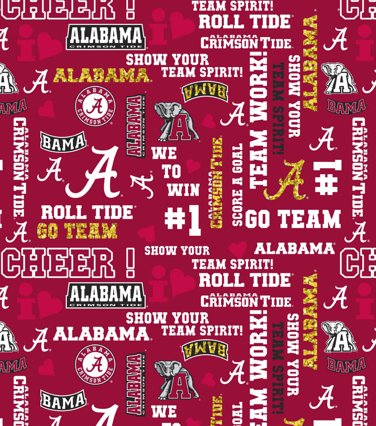 University of Alabama Crimson Tide Cotton Fabric 44\u0022-Glitter