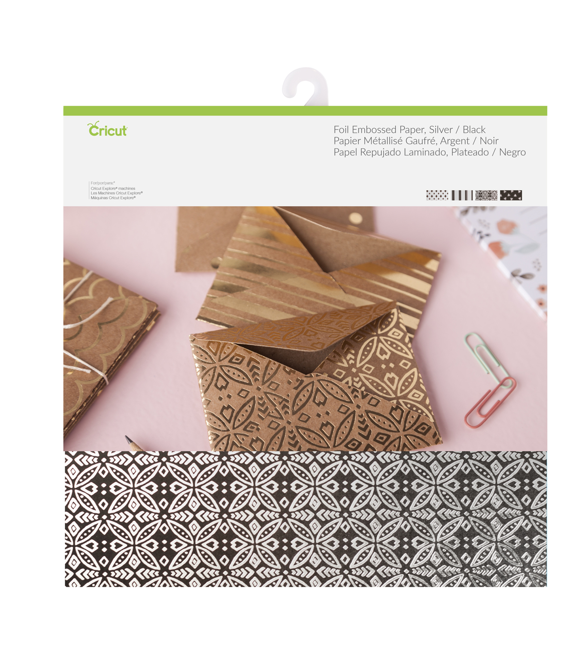 Cricut® 12 Pack 12''x12'' Deluxe Foil Embossed Papers-Silver & Black