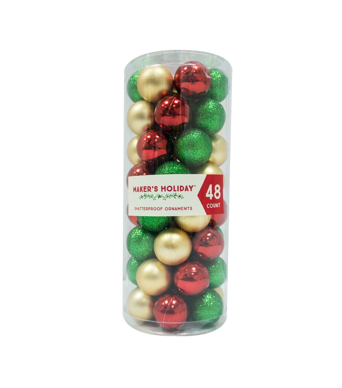 Maker\u0027s Holiday 48ct Shatterproof Ornaments-Red, Green & Gold