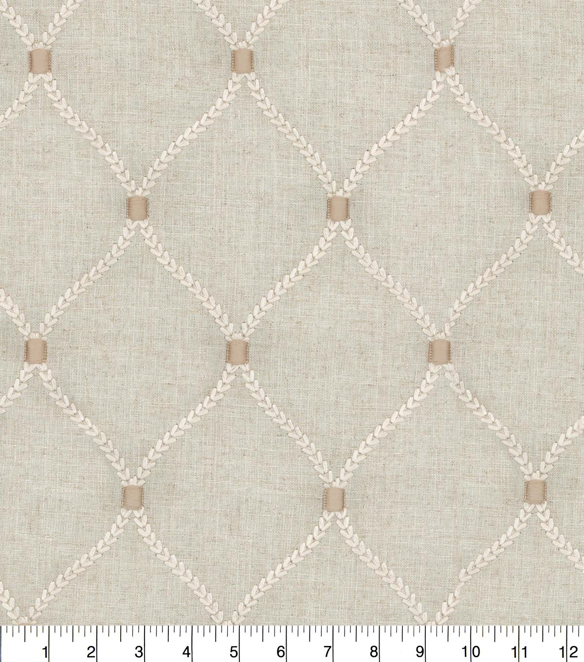 Williamsburg Upholstery Fabric 54\u0027\u0027-Flax Deane Embroidery